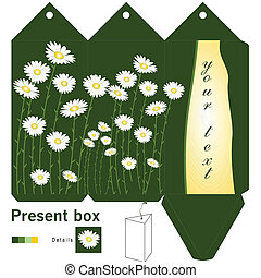 Gift box template with daisy
