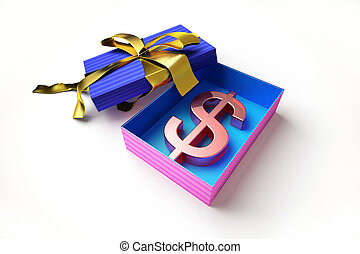 gift box   the us dollar symbol in