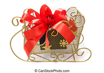 Gift box tied with a red bow.