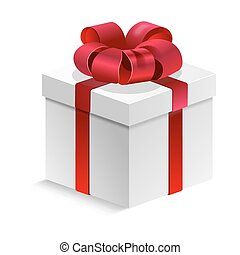 Gift box tied with red silk ribbon and bow