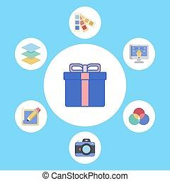 Gift box vector icon sign symbol