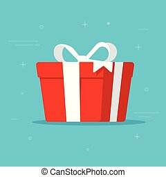 Gift box vector illustration isolated in flat cartoon design, present paper package with white ribbon