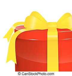 Gift Box - Vector Red Present Box with Gold - Yellow Ribbon