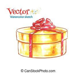 Gift box. Watercolor illustration.