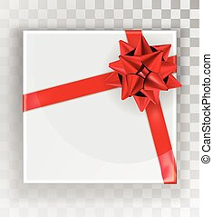 Gift Box. White Christmas gift boxes isolated on a transparent background. Green box with a colorful elegant bow. Realistic vector object isolated