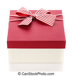 Gift box with a beautiful bow. Isolated on white background.