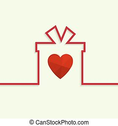 Gift box with a bow, heart on light background. banners, ...