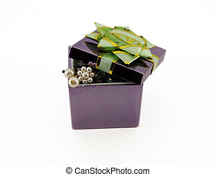 Gift box with a bow. Isolated object on white background.