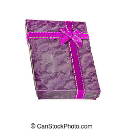 gift box with a purple bow an isolated on white background