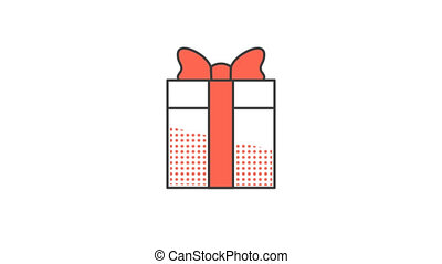 Gift box with a red bow. Animated looped icon pictogram with...