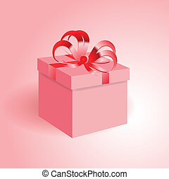 Gift box with a red ribbon.