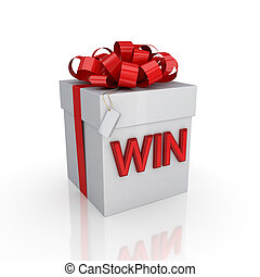 Gift box with a signature WIN. Isolated on white background...