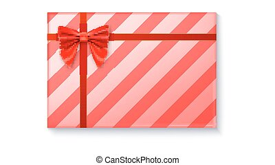 Gift box with big red bow and ribbon on white background.