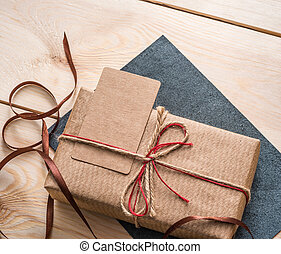 Gift box with blank tag.