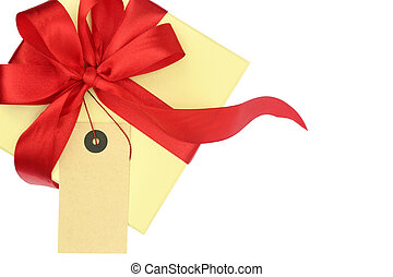 Gift box with blank tag isolated on white
