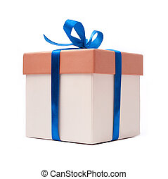gift box with blue ribbon and bow
