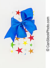 gift box with blue ribbon and bow isolated