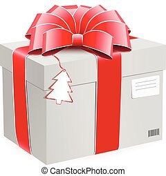 Gift box with bow and postage label