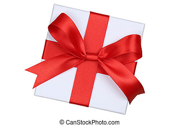 Gift box with bow from above for gifts on Christmas, birthday or