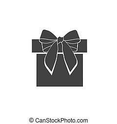 gift box with bow, icon, vector