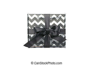 Gift box with bow isolated on white background. Black Friday sale