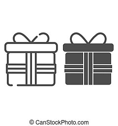 Gift box with bow line and glyph icon. Pesent with ribbon vector illustration isolated on white. Surprise package outline style design, designed for web and app. Eps 10.