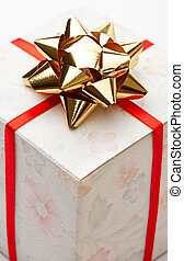 Gift box with bow on a white background