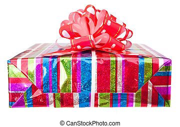 Gift box with bow on white.