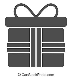 Gift box with bow solid icon. Pesent with ribbon vector illustration isolated on white. Surprise package glyph style design, designed for web and app. Eps 10.