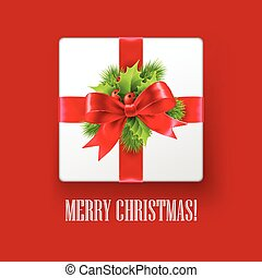 Gift box with Christmas decoration. Vector illustration