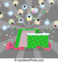 Gift Box with Christmas Lights Vector Illustration