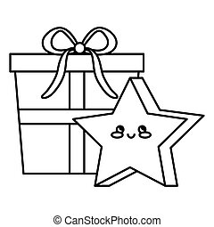 gift box with cute star kawaii style