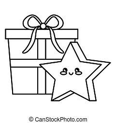 gift box with cute star kawaii style