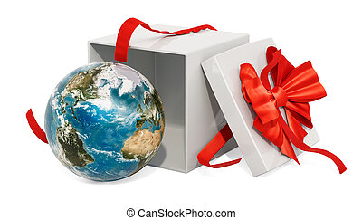 Gift box with Earth Globe, 3D rendering