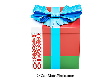 Gift box with flag of Belarus, holiday concept. 3D rendering