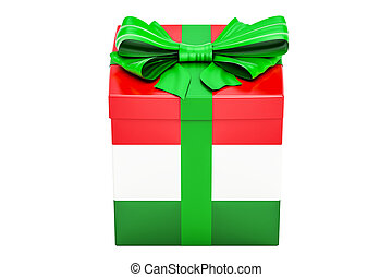 Gift box with flag of Hungary, holiday concept. 3D rendering...