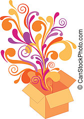 gift box with floral design, vector - gift box with ...