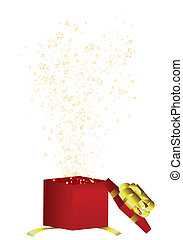 Gift box with fly out stars. Vector illustration.