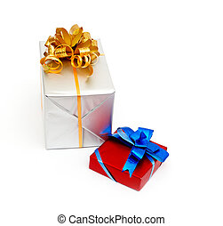 gift box with gold bow isolated on white