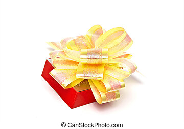Gift box with gold bow on white background