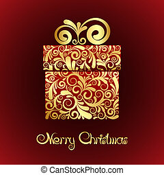 Gift box with gold ornament - Christmas card - gift box with...