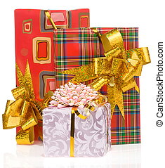 gift box with gold ribbon isolated on white