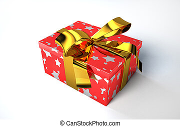 Gift box with golden ribbon.