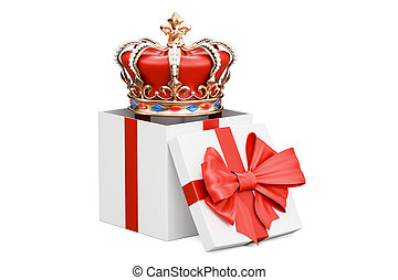 Gift box with golden royal crown, 3D rendering