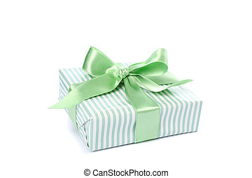 Gift box with green bow isolated on white background
