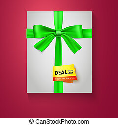 Gift box with green bow on red background. Deal of the day.  illustration eps 10.