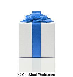 gift box with handmade blue ribbon bow
