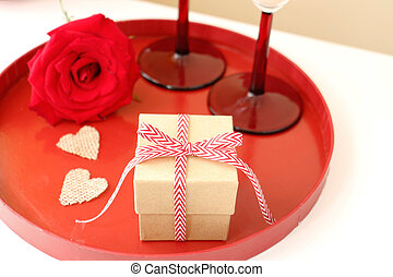 Gift box with heart and rose