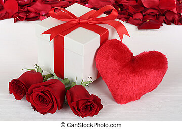 Gift box with heart and roses for birthday, Valentine's or mothe