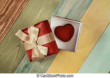 Gift box with heart inside